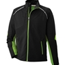 Ash City Mens Dynamo Hybrid Performance Soft Shell Jacket- Black Acid Green/Black Silk