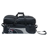 900 Global 3 Ball Airline Tote Roller Bowling Bag w/ Removeable Pouch- Black/Silver