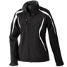 North End Sport Womens Color Block Soft Shell Jacket- Black/White