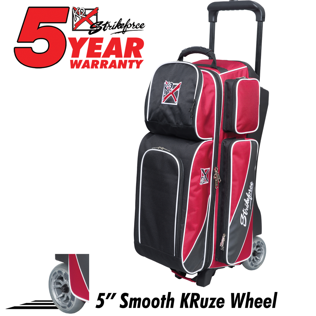KR Strikeforce Fast Triple Roller Bowling Bag -Brick Red/Black