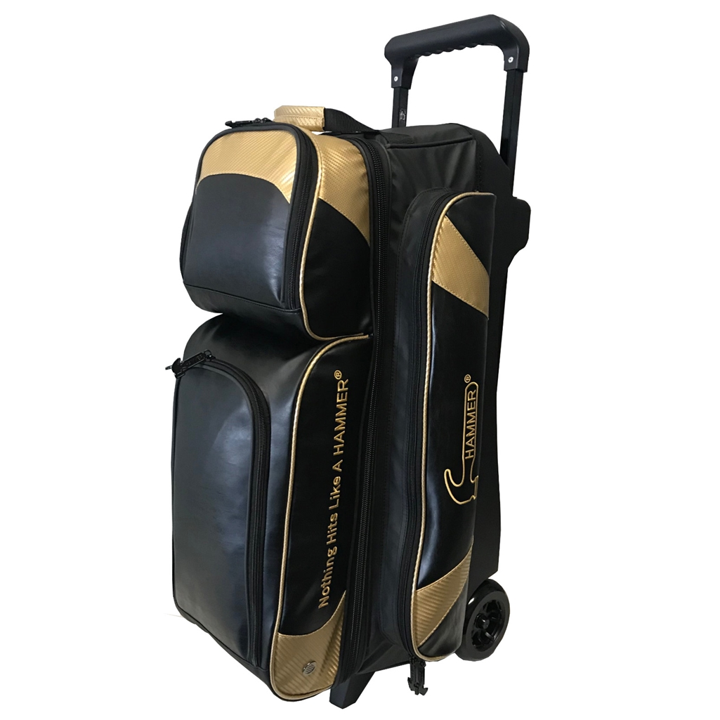 Hammer Premium 3 Ball Roller Bowling Bag- Black/Gold