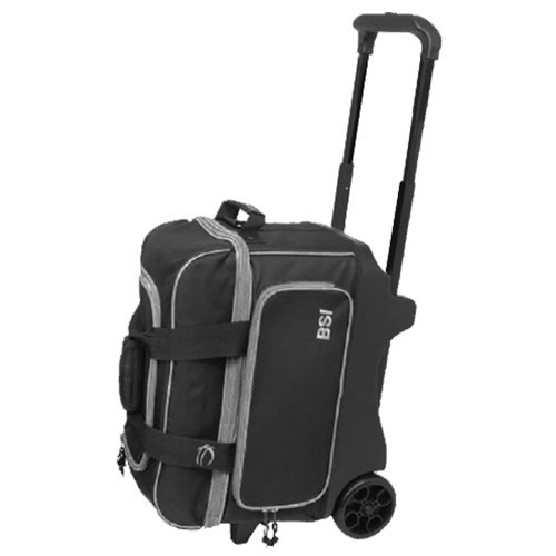 BSI Large Wheel Double Roller Bowling Bag- Black/Gray